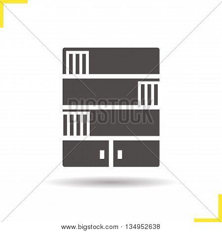 Bookcase icon. Drop shadow silhouette symbol. Bookshelf. Vector isolated illustration