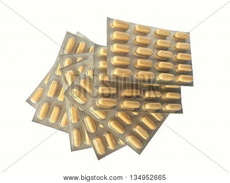 Fanned out yellow medication blisters isolated on white background