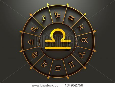 Scales astrology sign. Golden astrological symbol. 3D rendering