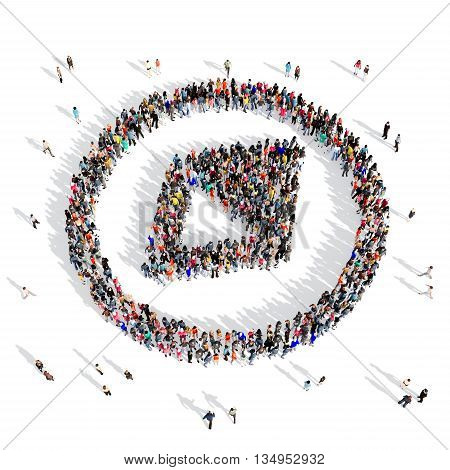 Large and creative group of people gathered together in the shape of a compass . 3d illustration, isolated, white background.