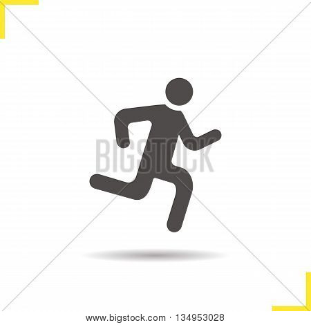 Runner icon. Drop shadow sprinter silhouette symbol. Running man. Vector isolated illustration
