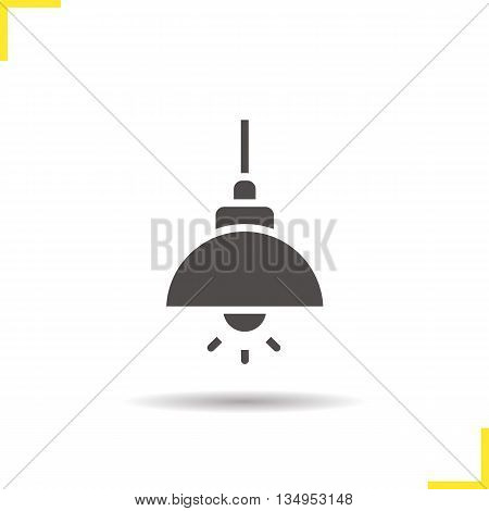 Ceiling lamp icon. Drop shadow silhouette symbol. Hanging lamp. Vector isolated illustration