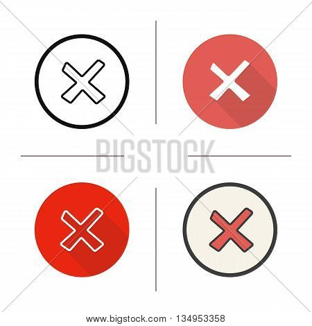 Cancel icon. Flat design, linear and color styles. Decline symbol. Delete isolated vector illustrations