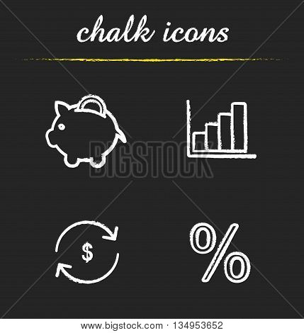 Banking icons set. Piggy bank with coin, growth chart, currency exchange and percentage illustrations. Finance isolated vector chalkboard drawings