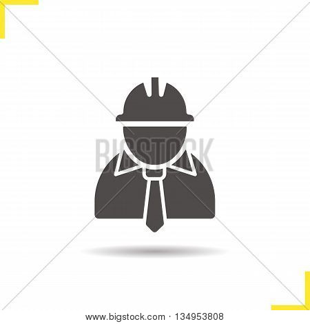 Engineer icon. Drop shadow architect silhouette symbol. Industrial worker. Factory chief vector isolated illustration