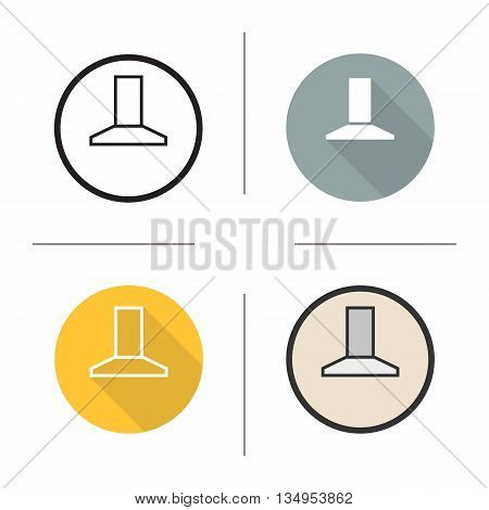 Extractor hood icon. Flat design, linear and color styles. Range hood isolated vector illustrations