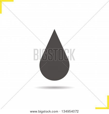 Water drop icon. Drop shadow silhouette symbol. Oil symbol. Vector isolated illustration