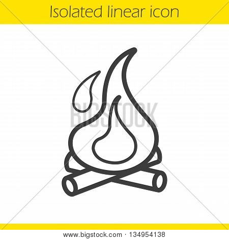 Campfire linear icon. Thin line illustration. Bonfire wth firewood contour symbol. Vector isolated outline drawing