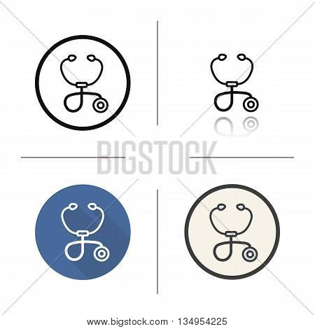 Stethoscope icon. Drop shadow silhouette symbol. Auscultation tool. Vector isolated illustration