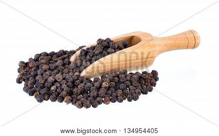 peppercorn in scoop isolated on white background
