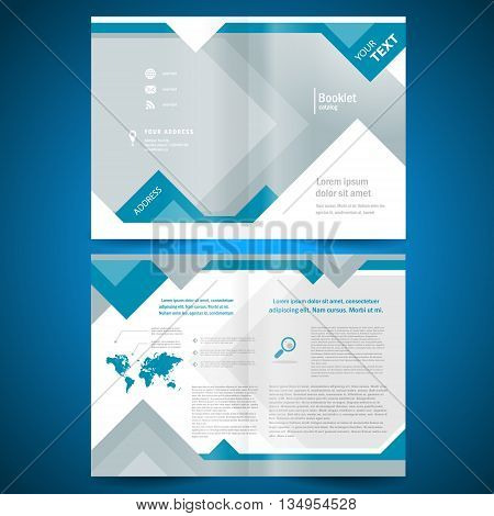 booklet template design catalog brochure folder geometric triangle rhombus abstract element blue color background