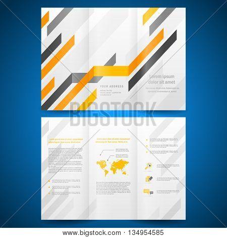 brochure folder leaflet geometric abstract grach diagram orange line grey background. mock-up is no effect no transparent