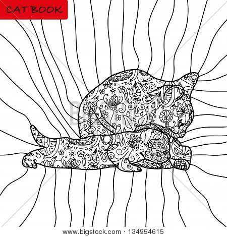 Book coloring pages for adults and children. The book of the cat. Mother cat with her kitten. Flowers patterns. Bohemian style. Page adults