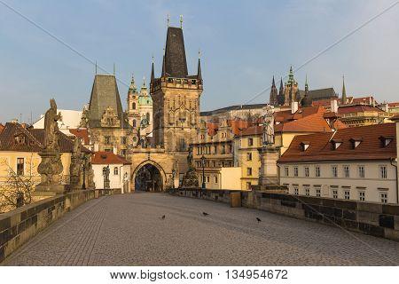 Prague Castle From Charles Bridge Panoramic Photo, Prague, Czech Republic