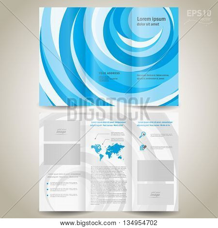brochure design template folder leaflet geometric abstract element color blue stripes circle