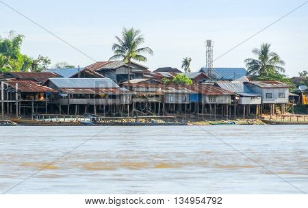 rural village at Mekong river in Laos