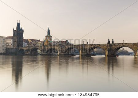 Charles Bridge With Vltava River, Prague, Czech Republic
