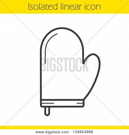 Oven mitt linear icon. Pot holder thin line illustration. Oven glove contour symbol. Vector isolated outline drawing