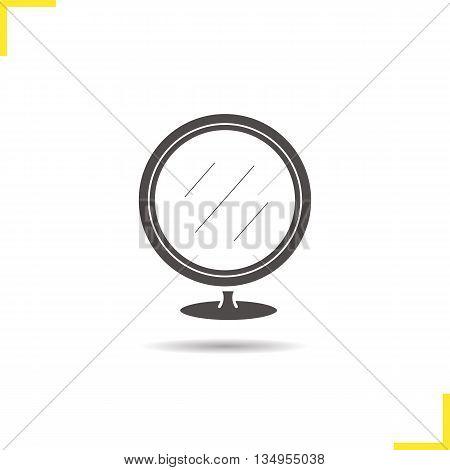 Portable mirror icon. Drop shadow silhouette symbol. Bathroom mirror. Vector isolated illustration