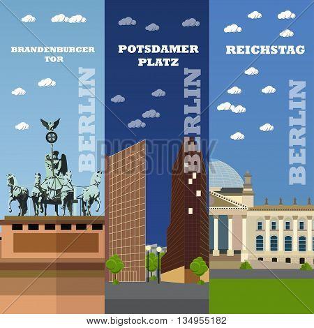 Berlin tourist landmark banners. Vector illustration with German famous buildings. Potsdamer Platz, Brandenburg Gate, Reichstag building.
