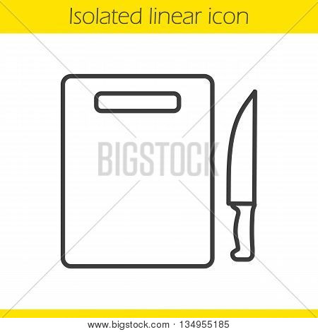 Cutting board with knife linear icon. Cooking instruments. Chef's equipment thin line illustration. Cutlery contour symbol. Vector isolated outline drawing