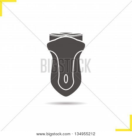 Electric shaver icon. Drop shadow silhouette symbol. Electric razor. Vector isolated illustration