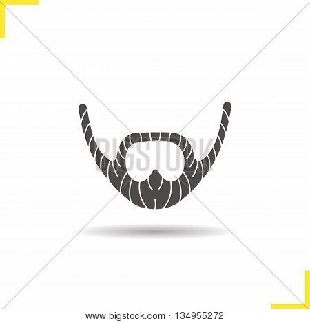 Beard icon. Drop shadow silhouette symbol. Men's facial har. Vector isolated illustration
