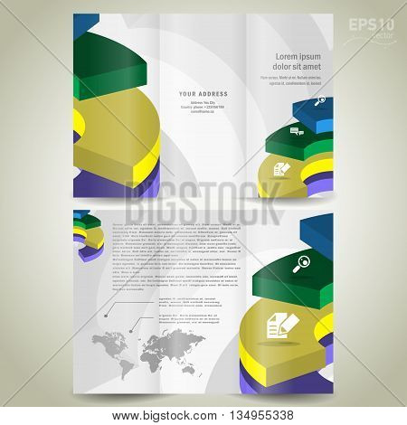 Business brochure design template spiral diagram element