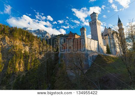 Neuschwanstein Castle During Early Spring With Blue Sky, Southern Bavaria, Germany