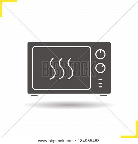 Microwave oven icon. Drop shadow silhouette symbol. Microwave stove. Vector isolated illustration