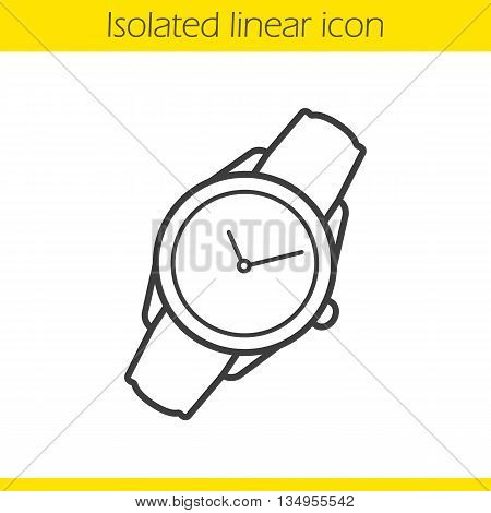 Wristwatch linear icon. Men and women accessory thin line illustration. Classic watch contour symbol. Vector isolated outline drawing