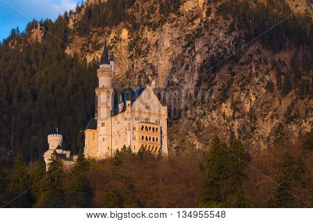 Neuschwanstein Castle During Early Spring Sunset, Southern Bavaria, Germany
