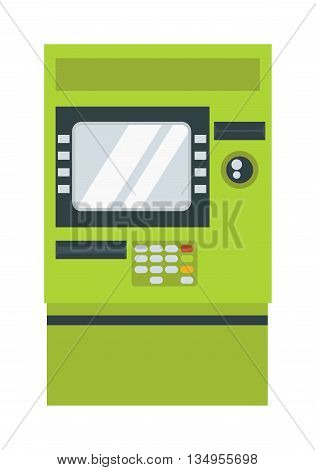 ATM cash dispenser vector illustration isolated on white background. Wealth keypad money debt buy monitor atm cash dispenser. Business technology atm cash dispenser debit display.