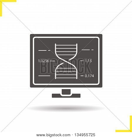 Dna strand icon. Drop shadow human genome research silhouette symbol. Computer research fromula. Vector isolated illustration