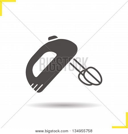 Hand mixer icon. Drop shadow silhouette symbol. Vector isolated illustration