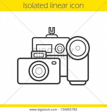 Cameras linear icon. Optical multimedia equipment thin line illustration. Cameras contour symbol. Vector isolated outline drawing