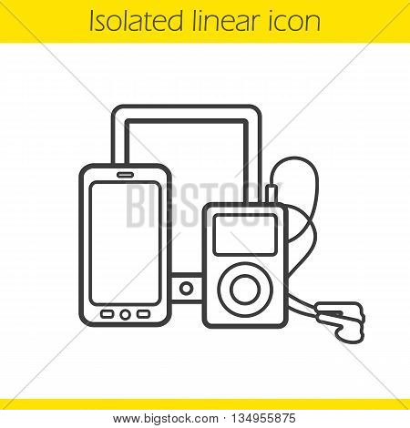 Digital gadgets linear icon. Tablet computer, smartphone and mp3 player with earphones. Multimedia electronic devices thin line illustration. Gadgets contour symbol. Vector isolated outline drawing