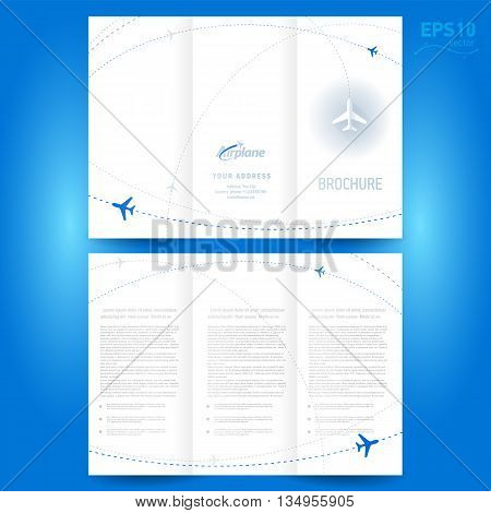 brochure design template leaflet airplane way white backgroung