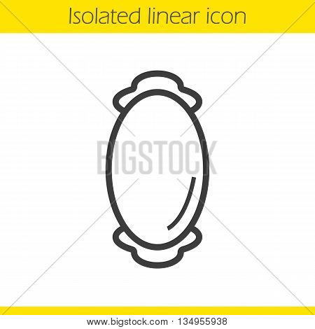 Wall mirror linear icon. House decorative furniture item thin line illustration. Oval mirror contour symbol. Vector isolated outline drawing