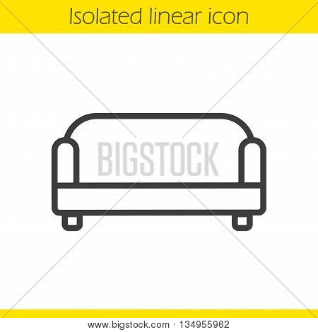 Couch linear icon. Modern comfortable furniture. House interior item thin line illustration. Sofa contour symbol. Vector isolated outline drawing