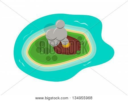 Island of beautiful sea top view render illustrations. Tropical summer sea island top view. Beach water landscape vector island top view travel. Tourism exotic nature lagoon summer concept.