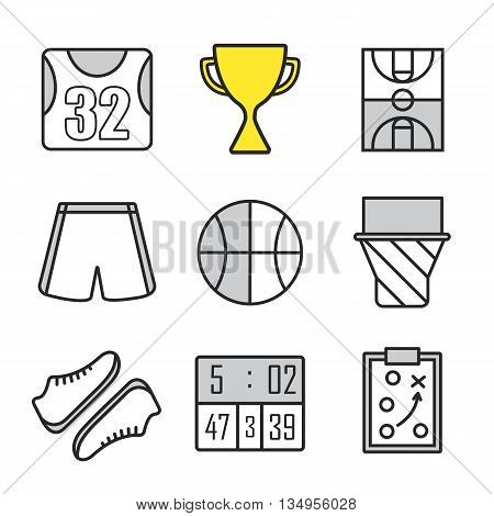 Basketball linear icons set. Basketball uniform, ball, scoreboard, field, hoop and sneakers. Winner's cup and clipboard game plan. Thin line. Isolated vector illustrations