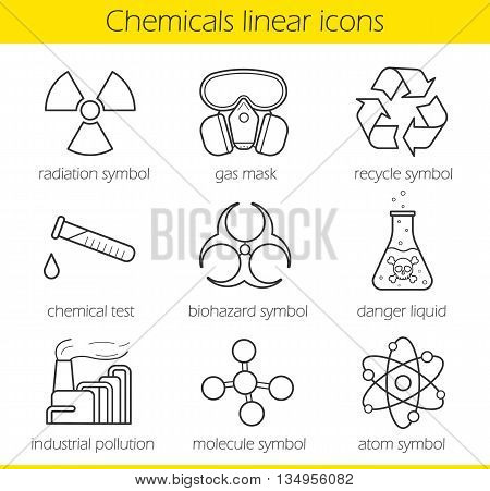Laboratory equipment. Chemical industy. Gas mask, recycle symbol, chemical test tube, poison danger, factory pollution. Biohazard, radiation, atom and molecule symbols.