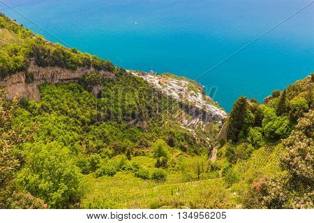 Beautiful Views On Praiano Town From Path Of The Gods, Amalfi Coast, Campagnia Region, Italy