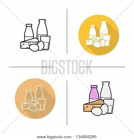 Dairy products icon. Flat design, linear and color styles. Bottle and glass of milk, cheese and eggs. Milk products isolated vector illustrations