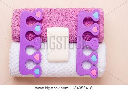 Pedicure, Toe Separators On Towels