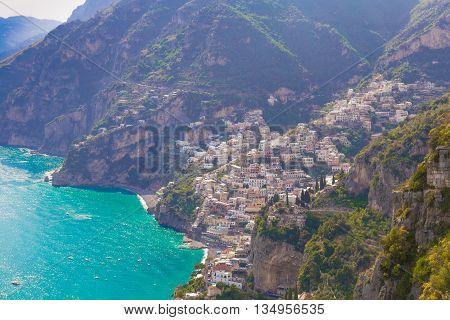 Beautiful Views On Positano Town From Path Of The Gods, Amalfi Coast, Campagnia Region, Italy