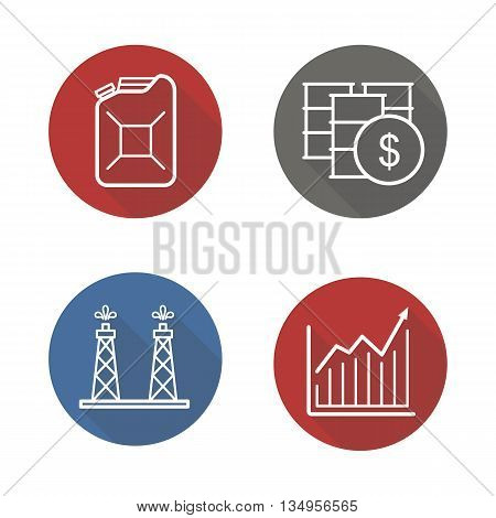 Oil industry flat linear long shadow icons set. Oil rig and barrels, petrol can, and growth chart. Oil trade. Vector