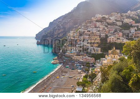 Pictoresque Town Of Positano, Amalfi Coast, Campania Region, Italy