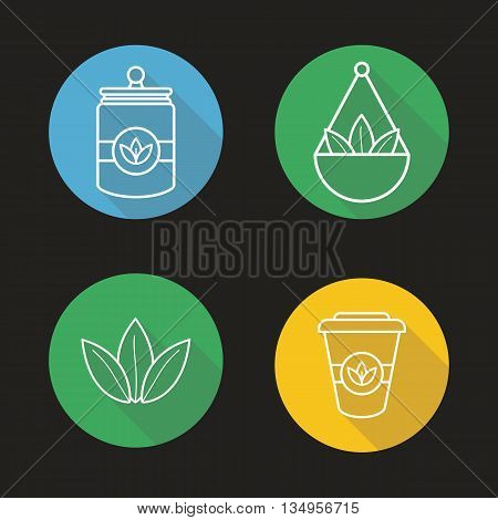 Tea shop linear icons set. Tea container, loose tea leaves in jar and takeaway paper cup. Thin line. Isolated vector illustrations